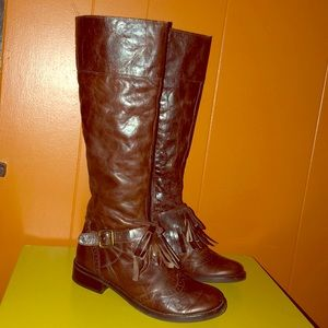Matisse Brown Leather Kiltie Wingtip Riding Boots